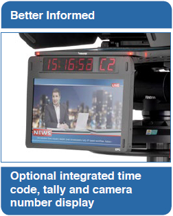 Better Informed: Optional integrated time code, tally and camera number display